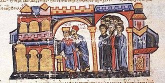 Stylianos Zaoutzes - Samonas revealing Basil's plot against Leo VI. Miniature from the Madrid Skylitzes