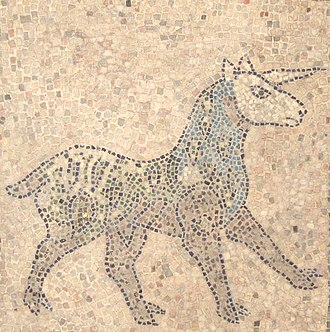 Christian mythology - Unicorn mosaic on a 1213  church floor in Ravenna