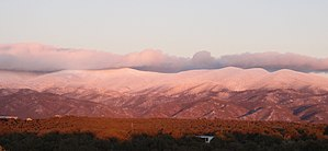 Santa Fe de Nuevo México - Sangre de Cristo Mountains to the east of Santa Fe: a winter sunset after a snowfall