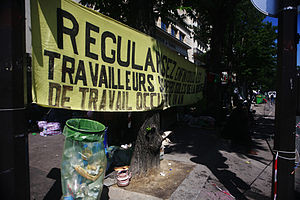 English: Illegal immigrants protesting at the ...