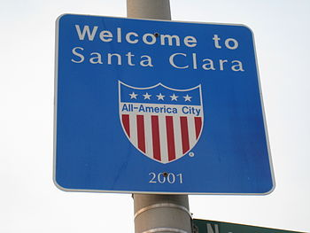 English: A sign in Santa Clara, California pro...