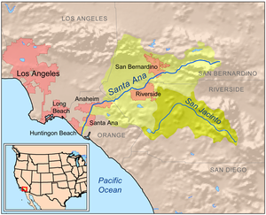 Chino Creek - Map showing the entire Santa Ana River Basin