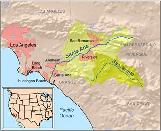 Chino Creek - Map showing the entire Santa Ana River Basin