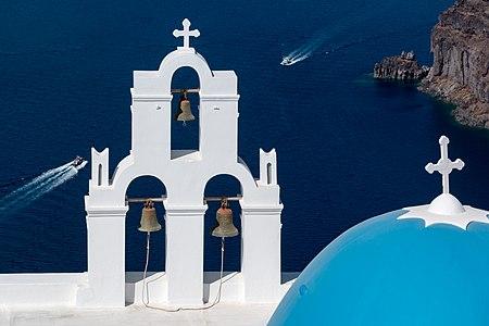 Three bells of Fira, Santorini, Greece
