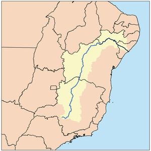 Mapa da extensão total do Rio São Francisco. Em seus 2.830 km o rio passa por cinco estados brasileiros.