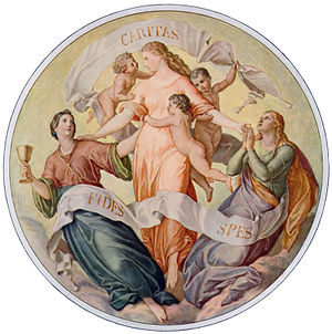 Depiction of faith, hope, and charity (love), ...