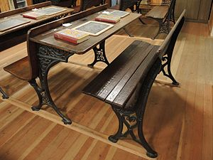 Desk - School desk manufactured by the American S.F. Company of Buffalo, New York in about 1900
