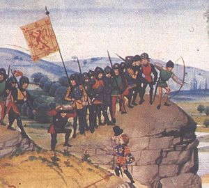 Herald - A 14th-century illustration showing an English herald approaching a troop of Scottish soldiers -  an incident of the Anglo-Scottish Wars.