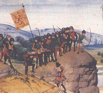 Military history of Scotland - Scottish soldiers in the period of the Hundred Years' War, detail from an edition of Froissart's Chronicles