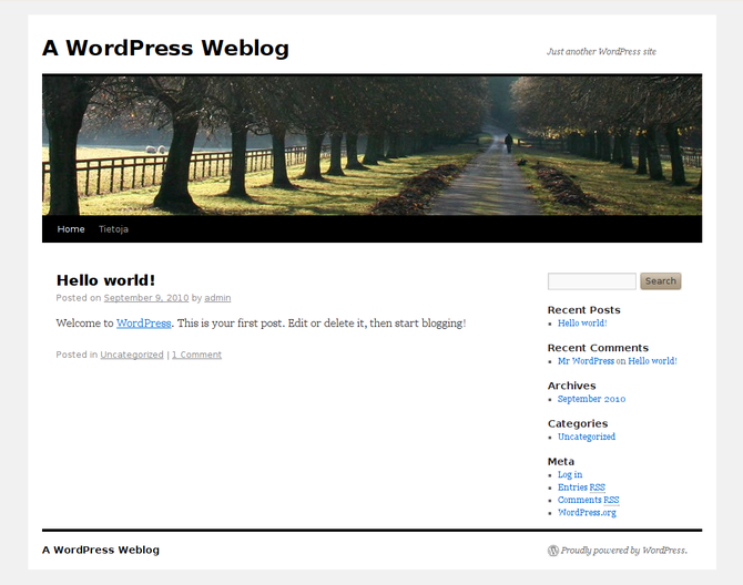 A WordPress weblog with the TwentyTen theme, a...