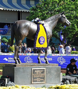 2016 Breeders' Cup - Seabiscuit statue at Santa Anita, draped in a Breeders' Cup winner's blanket