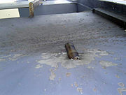 Restos de una granada propulsada que impactó al barco Seabourn Spirit.