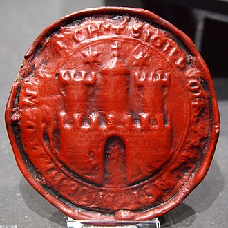 Coat of arms of Hamburg - Image: Seal City of Hamburg 1253 55 replica