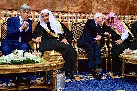 Kerry (far left) and McCain (third from left) with members of the Saudi Royal Family after greeting the new King Salman of Saudi Arabia, Riyadh, January 2015 Secretary Kerry and Senator McCain Chat With Members of the Saudi Royal Family.jpg