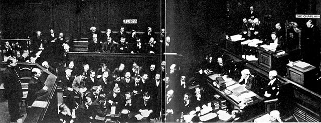 The only known photograph of the death sentence being pronounced in England and Wales, for the poisoner Frederick Seddon in 1912 Seddon being sentenced to death.jpg