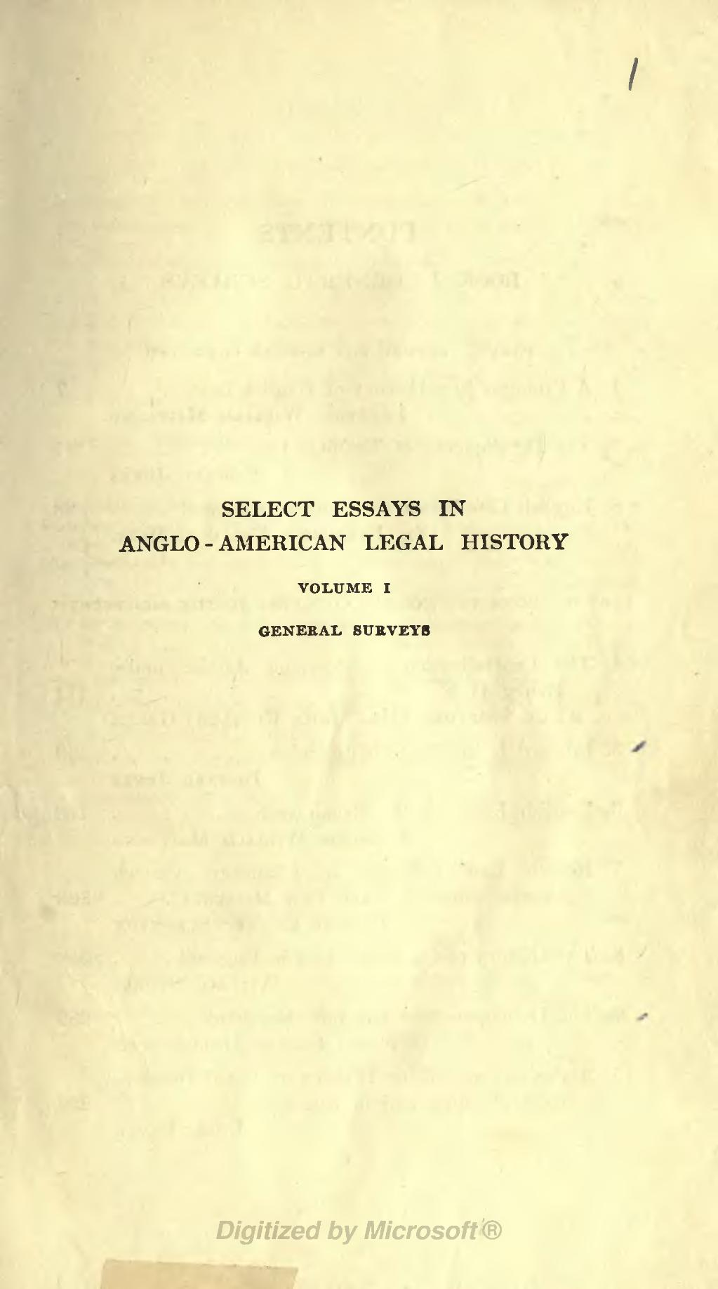 select essays in anglo-american legal history Edition used: committee of the association of american law schools, select essays in anglo-american legal history, by various authors, compiled and edited by a.