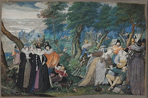 1550–1600 in Western European fashion - Isaac Oliver's allegorical painting of 1590–95 contrasts virtuous and licentious dress and behavior.