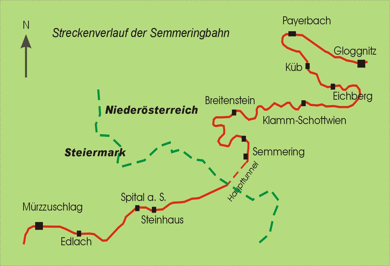 Plano del ferrocarril del Semmering