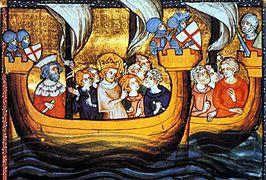 Louis IX sur une nef, au départ d'Aigues-Mortes, lors de la septième croisade