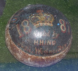 Royal Shrovetide Football - Shrovetide ball goaled by H. Hind on Ash Wednesday 1887 that pre-dates the fire which destroyed the earliest written records of the sport.