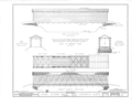 Side Elevation; 1-4 Plans of Floor Framing, Floor Planking, Roof Framing and Roof; Longitudinal Section, Cross Section, End Elevation - Eames Covered Bridge, HABS ILL,36-OQUA.V,2- (sheet 1 of 2).png