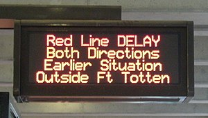 "June 2009 Washington Metro train collision - Delays continued on the Red Line the day after the collision, the ""earlier situation"" referred to on the Passenger Information Display System sign."