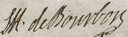 Signature of Louis Henri de Bourbon, Duke of Bourbon (Prince of Condé) at the baptism of the kings daughter (Henriette of France).png