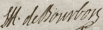 Louis Henri, Duke of Bourbon - Image: Signature of Louis Henri de Bourbon, Duke of Bourbon (Prince of Condé) at the baptism of the kings daughter (Henriette of France)