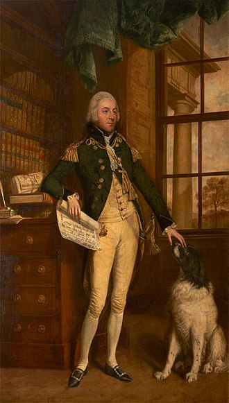 Sir John de la Pole, 6th Baronet - Sir John de la Pole, 6th Baronet (1757–1799), in uniform of Deputy Lieutenant of Devon, in the library of New Shute House, Devon, built by him between 1787–89, holding a plan of his new house in his right hand, from close study of which Maureen Turner (1999) was the first to discover the name of the architect Thomas Parlby, Esquire (1727–1802), his wife's uncle, the business partner and brother-in-law of James Templer, Senior, Sir John's father-in-law.  The Doric portico is visible through the window. Portrait by Thomas Beach (1738–1806), collection of Sir Richard Carew-Pole, Antony House, Cornwall