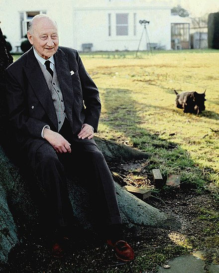 Portrait of Sir Felix Aylmer in his garden in 1973 by Allan Warren Sir Felix Aylmer Allan Warren.jpg