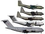 Size comparison C-17 A400M C-130J-30 C-130J C-160.jpg