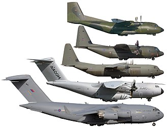 Military transport aircraft - Image: Size comparison C 17 A400M C 130J 30 C 130J C 160