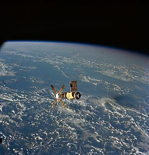 Skylab 2 - View of Skylab 2 from the Skylab Command/Service Module during the final flyaround inspection.