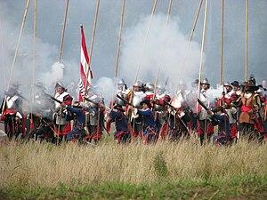 Battle of Grolle - Dutch troops fire a volley on the battlefield