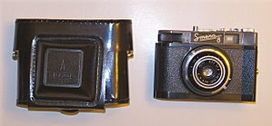 Smena (camera) - Image: Smena 8 and case