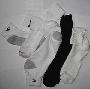 A picture of various brands of socks