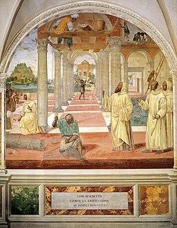 Sodoma - Life of St Benedict, scene 11, Benedict Founds Twelve Monasteries