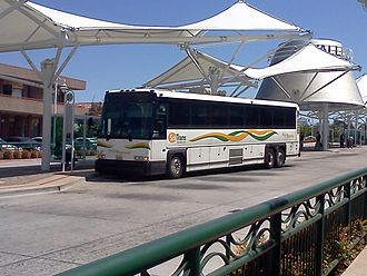 Vallejo Station - A SolTrans Express MCI D4500 Bus (used on Routes 80, 82, 85, and Yellow) on layover at the Vallejo Transit Center