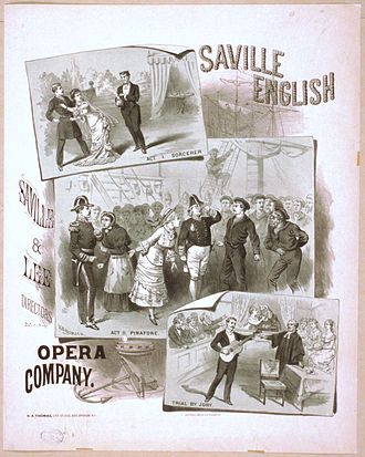 Gilbert and Sullivan - An early poster showing scenes from The Sorcerer, Pinafore, and Trial by Jury