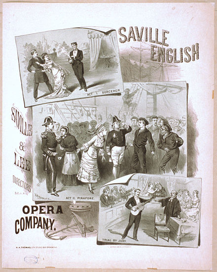 An early poster showing scenes from the first three Gilbert and Sullivan operas after Thespis Sorc-Pin-Trial.jpg