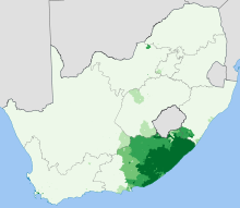 South Africa 2001 Xhosa speakers proportion map.svg