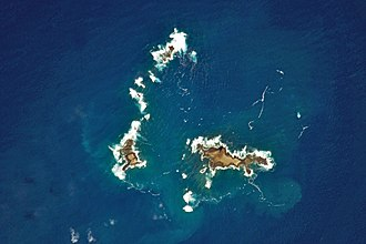 Savage Islands - Aerial photograph of the Southwestern Group, includes several islets and Selvagem Pequena