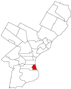 Map of Philadelphia County, Pennsylvania highlighting Southwark District prior to the Act of Consolidation, 1854