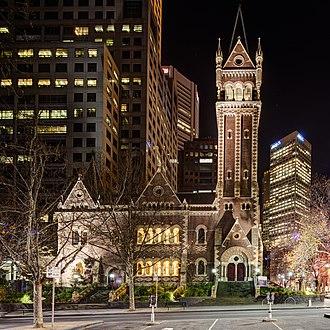 St Michael's Uniting Church, Melbourne - St Michael's Church at night