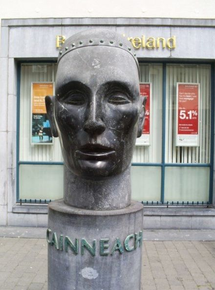 A public bust of St. Cainneach in Kilkenny City, whose 6th-century church was founded there. St. Cainneach Bust.jpg