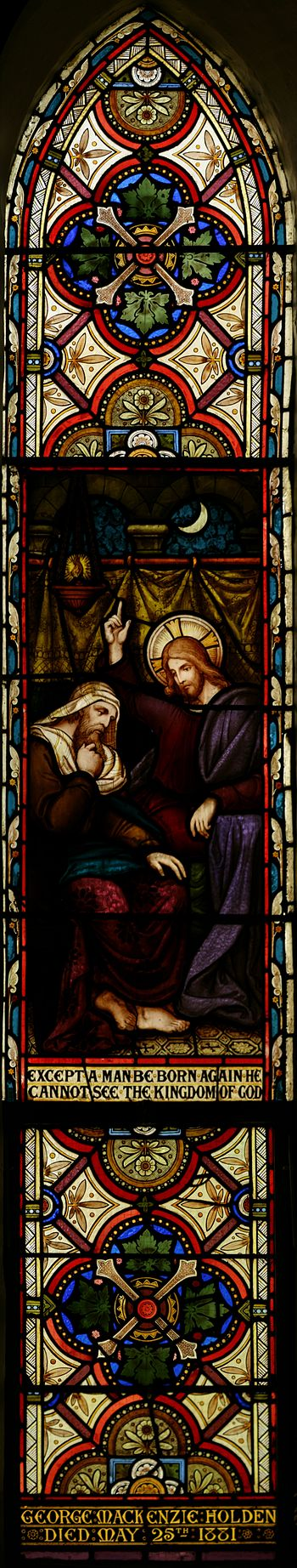 English: Stained glass panel in the transept o...