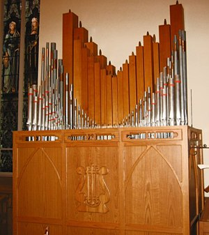 Organ stop - The choir division of the organ at St. Raphael's Cathedral, Dubuque, Iowa. Shown here are several ranks of pipes, each of which would be controlled from one of the stops on the console.
