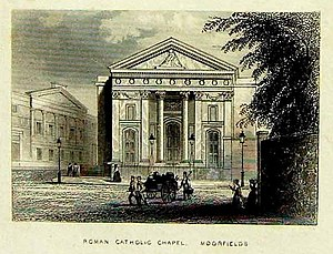 St Mary Moorfields - The original chapel in the 1830s: exterior, west facade
