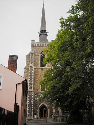 Church of St Peter and St Mary, Stowmarket - Tower, spire and entrance porch, from the south