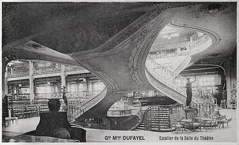 Staircase in the Salle du Théâtre, Grands Magasins Dufayel, Paris